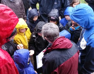 Beaver Scouts getting a damp introduction to Orienteering !